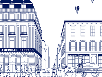 Illustration concept for American Express amex american express concept architecture building people wagon illustration