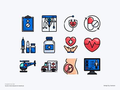 Hospital Icon Set healthcare doctor app medical medical app hospitals hospital color line website vector symbol illustration icon