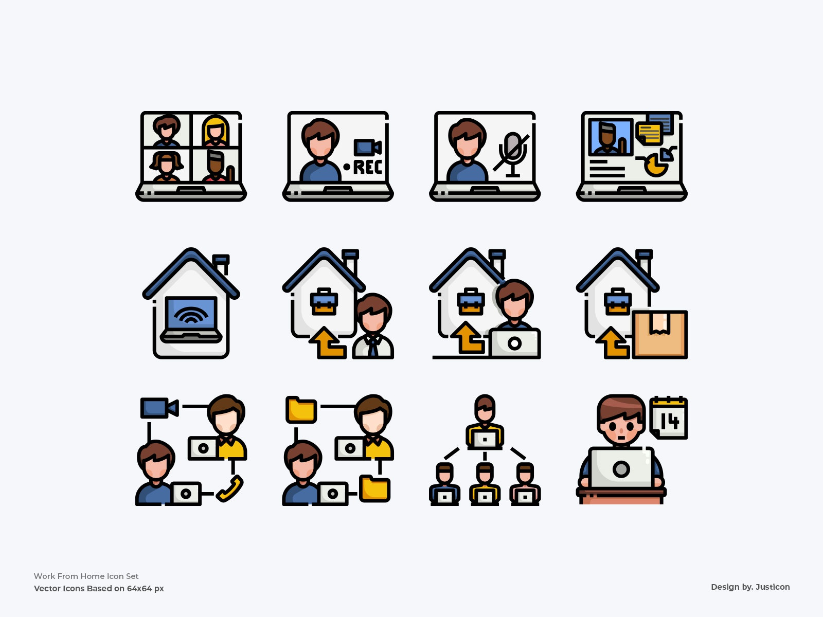 Work From Home Icon Set by Justicon on Dribbble