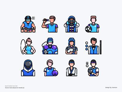 Sport Avatar Icon set sporty man people sport app symbol website avatar download design color line vector illustration icon