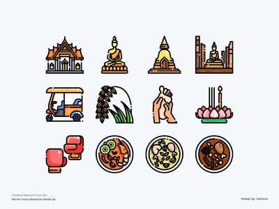 Thailand Element Icon Set app food thai food culture traditional tourism thai thailand travel avatar design color line website vector symbol illustration icon