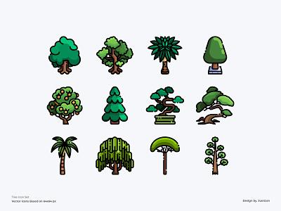 Tree Icon Set green ecology environment nature logo tree app avatar design color line vector symbol illustration icon
