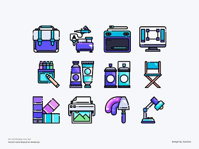 Art and Design Icon Set equipment studio digital art painting idea artwork designers art designer app design color line website vector symbol illustration icon