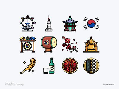 Korea Icon Set drink soju kimchi food culture tourism travel korea traditional logo design app outline color line website vector symbol illustration icon