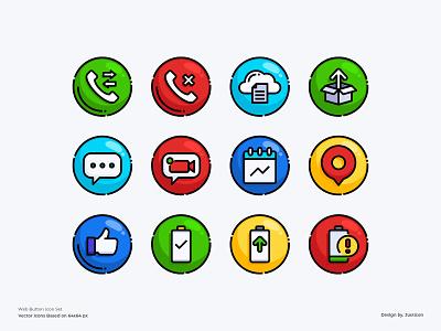 Web Button Icon Set calling phone gps communications social media ux ui website design web interface button app design outline color line website vector symbol illustration icon