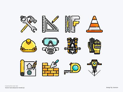 Construction Icon Set tools equipment company construction logo tool building construction design color line website vector symbol illustration icon