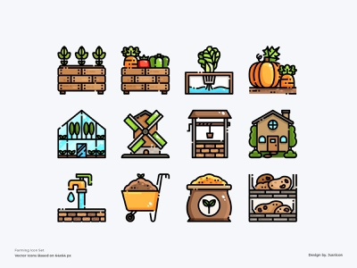 Farming Icon Set gardening farming farm color line vector symbol illustration icon
