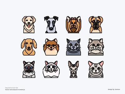 Dog and Cat Avatar Icon Set pet animal cat dog avatar design color line vector symbol illustration icon