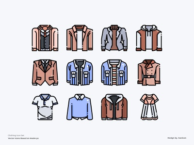 Clothes Icon Set t-shirt shirt clothing clothes ecommerce shopping store outline design color line vector symbol illustration icon