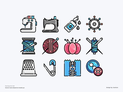 Sewing Icon Set equipment clothing clothes brand sewing machine sewing design color line vector symbol illustration icon