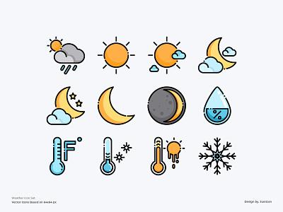 Weather Icon Set forecast weather app design ui color line website vector symbol illustration icon
