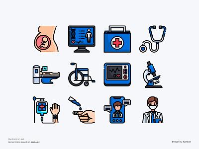 Hospital Icon Set video doctors hospital medical care medical icons app avatar design color line website vector symbol illustration icon