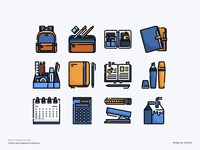 Education Icon set education website e-learning school back to school education app design color line website vector symbol illustration icon