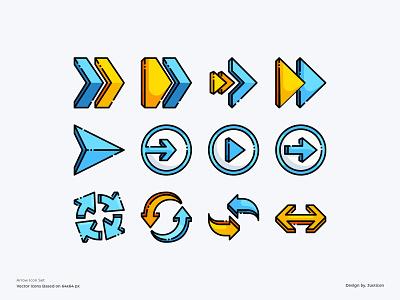 Arrow Icon set arrows output input arrow left arrow right interface upload arrow download design ui outline color line website vector symbol illustration icon