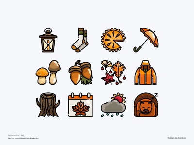 Autumn icon set calendar food pie season nature autumn website ui app design color line vector symbol illustration icon