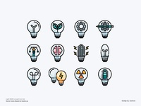 Light Bulb Concept Icon set learning education creative infographic concept light bulbs app design color line website vector symbol illustration icon