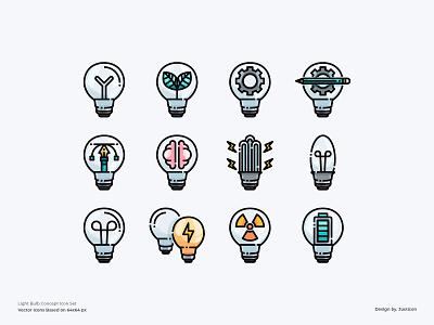 Light Bulb Concept Icon set learning education creative infographic concept light bulbs app design color line website vector symbol illustration icon