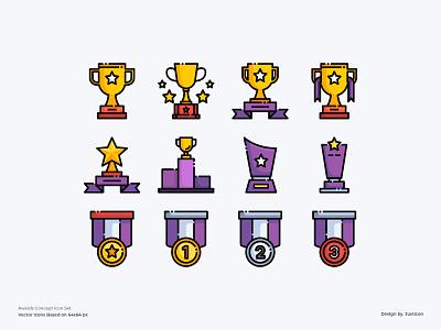 Awards Icon set website trophy award awards logo app design color line vector symbol illustration icon