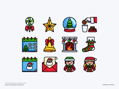 Christmas Icon set santa claus santa gift box gift christmas party snow christmas tree christian christmas xmas avatar design color line vector symbol illustration icon