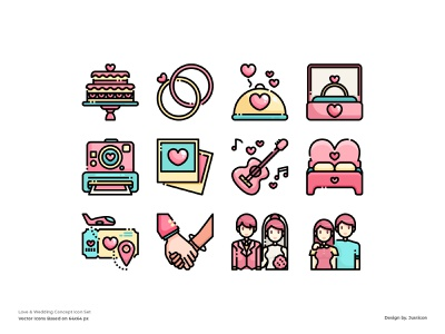 Valentine Icon set married couple heart weddings lovers lovely outline avatar color line website vector symbol illustration icon