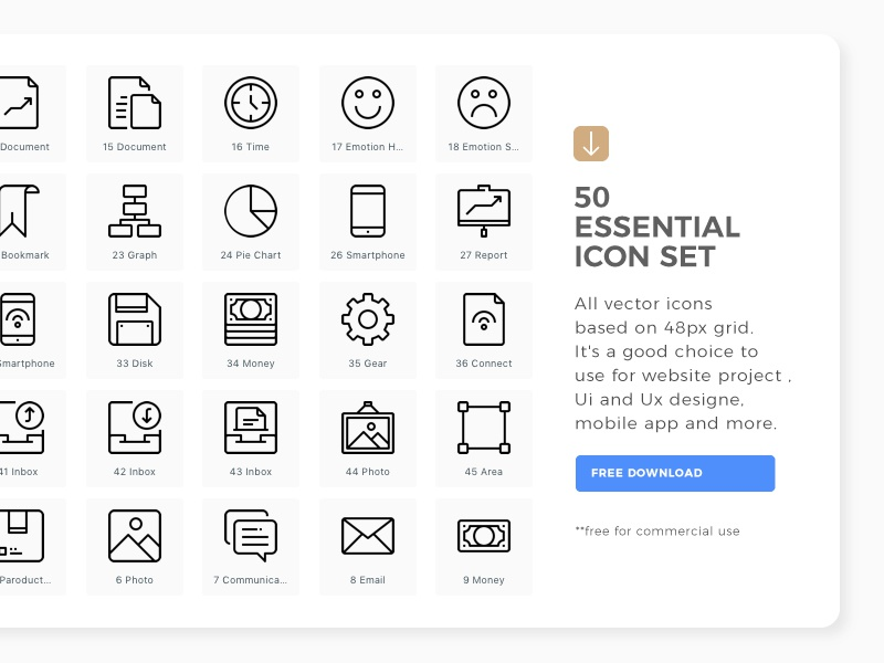 50 Free essential icon set ( Free for commercial use ) ui ux web icon free download interface freebie symbol logo illustration