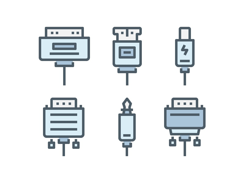 Usb and Connector Icon vector symbol website ui color line outline illustration icon