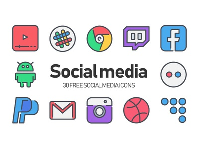 30 Free Social media Icons icon illustration outline color line ui website symbol vector free app download