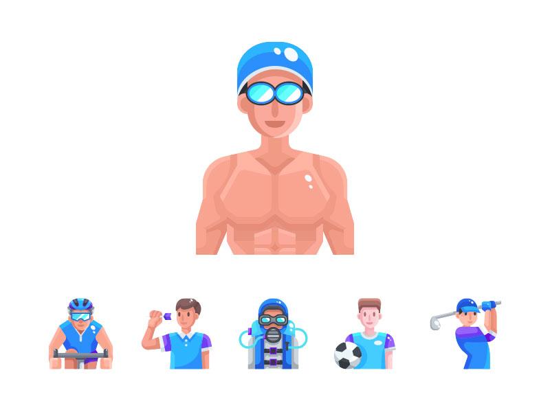 Sport Avatar icon design icon set sports design avatar download vector symbol illustration icon