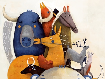 Gli animali sulla luna book childrens horses animals digitalpainting photoshop drawing illustration