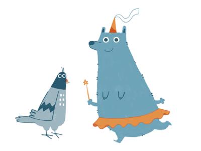best friends silly animals friends fairy magic children illustration beard trashbird pidgeon