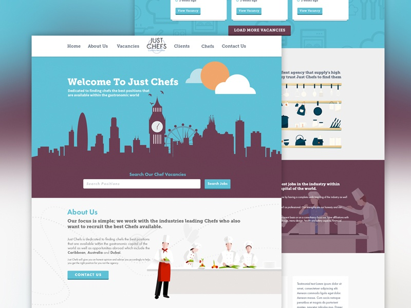 Just Chefs One Page Design wordpress ux ui web website