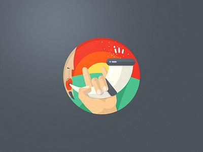 Herald badge herald share badge icon flat horn hand