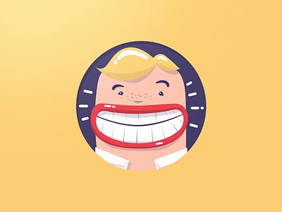 Golden boy badge icon illustration flat golden smile teeth lips