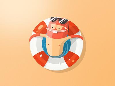 Mr. Survivor illustration icon badge flat beach lifebelt sun bright hot