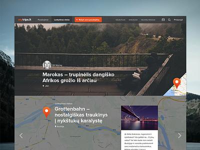 mytrips.lt travel web design flat trips clean ui ux minimal
