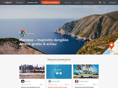 mytrips.lt v2 flat clean minimal trips travel ui web design