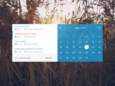 Events calendar widget calendar events mytrips blur flat minimal clean widget trip travel