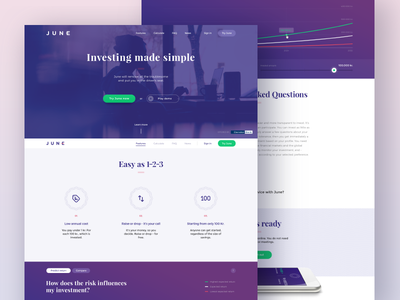 Landing page design facelift redesign bank calculator one page webdesign design investment landing page