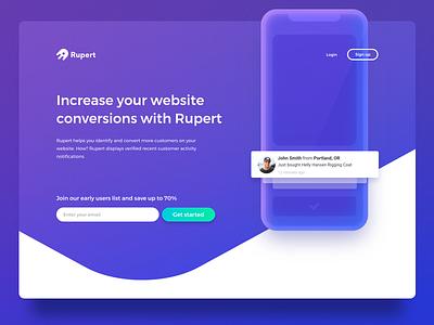 Rupert landing page monochrome blue e-commerce conversion mobile widget landing page web design