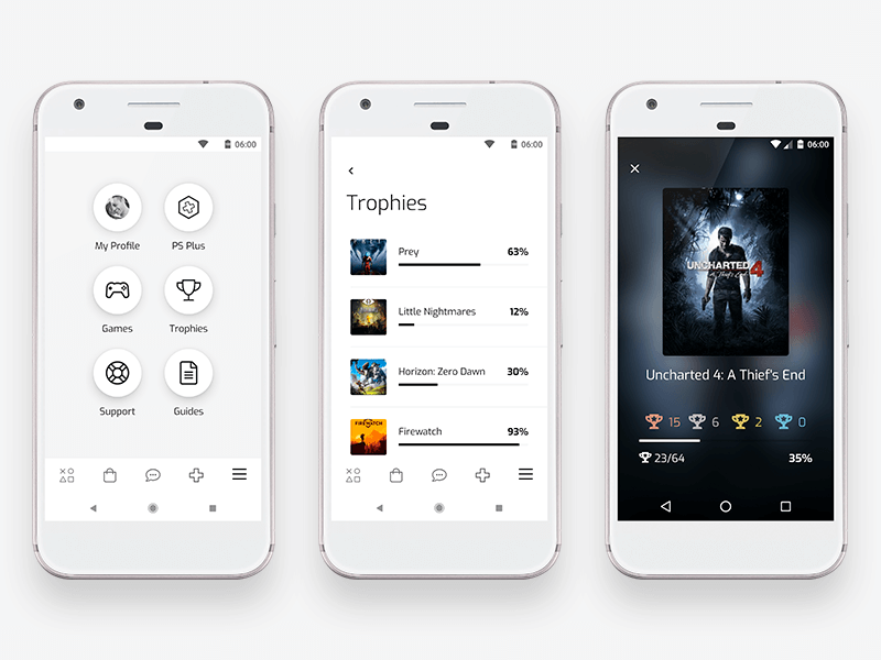 Playstation Trophies - Concept Android App games trophies trophy interface playstation open source concept app android