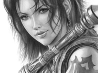 Fang from Final Fantasy XIII Pencil Drawing