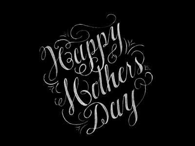 Happy Mother's Day black and white chalk type lettering hand lettering