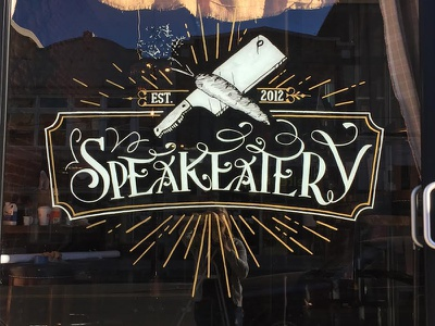 Window Design @thespeakeatery black gold reverse window window hand lettering lettering design hanpaint oneshot