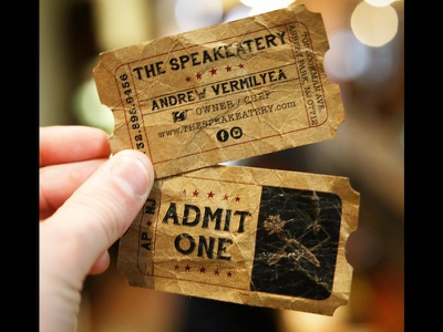 A fun take on a business card! design hand lettering lettering vintage ticket ticket business card