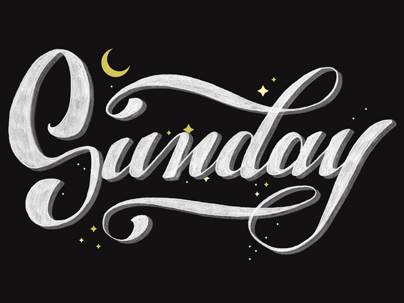 Sunday illustration graphic design art logo type calligraphy hand lettering design lettering