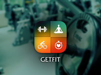 GETFIT - Fitness App gym fitness yoga body app icon heart wellness cycle work out dumbbells ios sport
