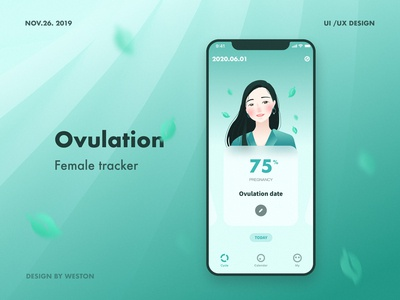 Ovulation-female tracker branding ux illustrator illustration design app ui