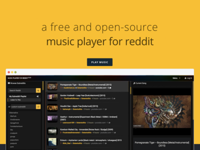 A free and open-source music player for reddit page product reddit player music