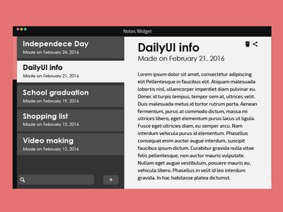 Daily UI | #065 | Notes Widget