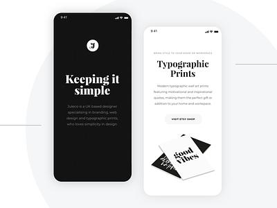 Juleco monochrome minimal typography brand portfolio website